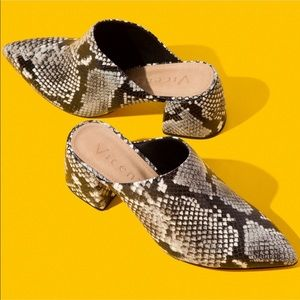Vicenza Snakeskin Blocked heels Mules Size 6